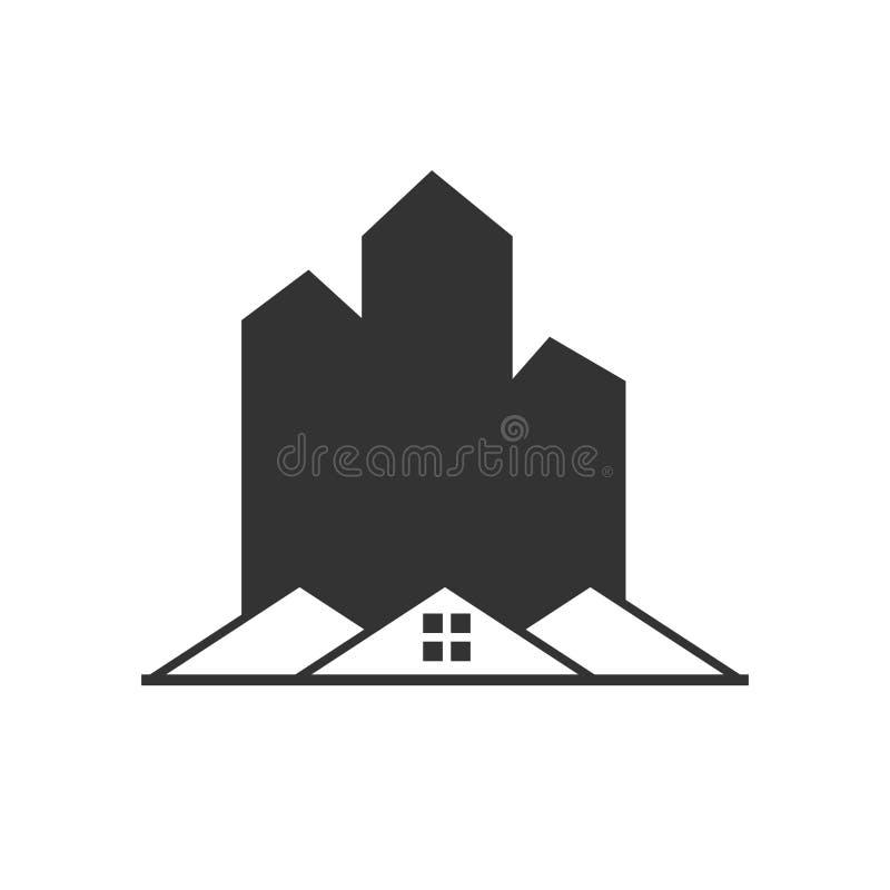 Значок здания вектора - значок конструкции иллюстрации плоский - строи иллюстрация штока