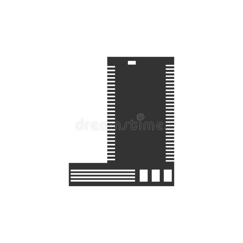 Значок здания вектора - значок конструкции иллюстрации плоский - строи иллюстрация вектора