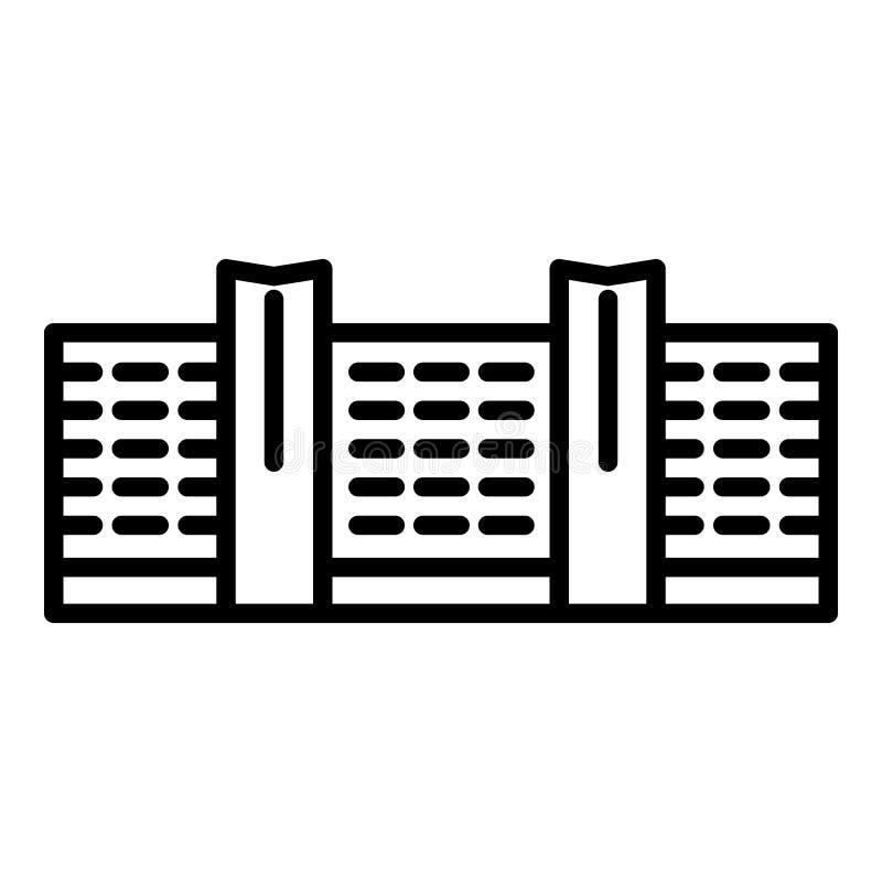 Значок здания делового центра, стиль плана иллюстрация вектора