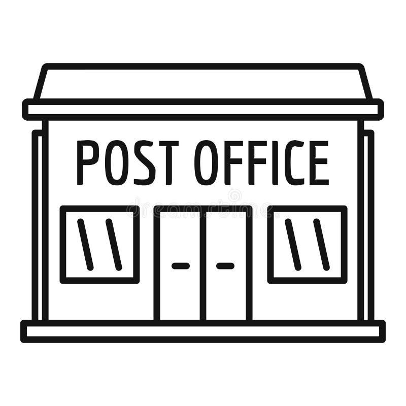 Значок здания почтового отделения, стиль плана иллюстрация штока