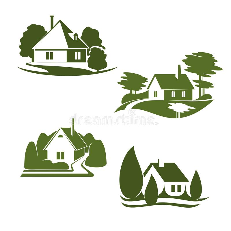 Значок зеленого дома Eco дизайна недвижимости экологичности бесплатная иллюстрация