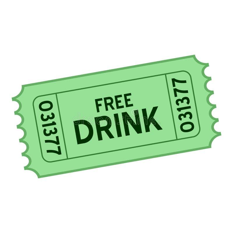 Значок зеленого свободного билета питья плоский на белизне иллюстрация вектора
