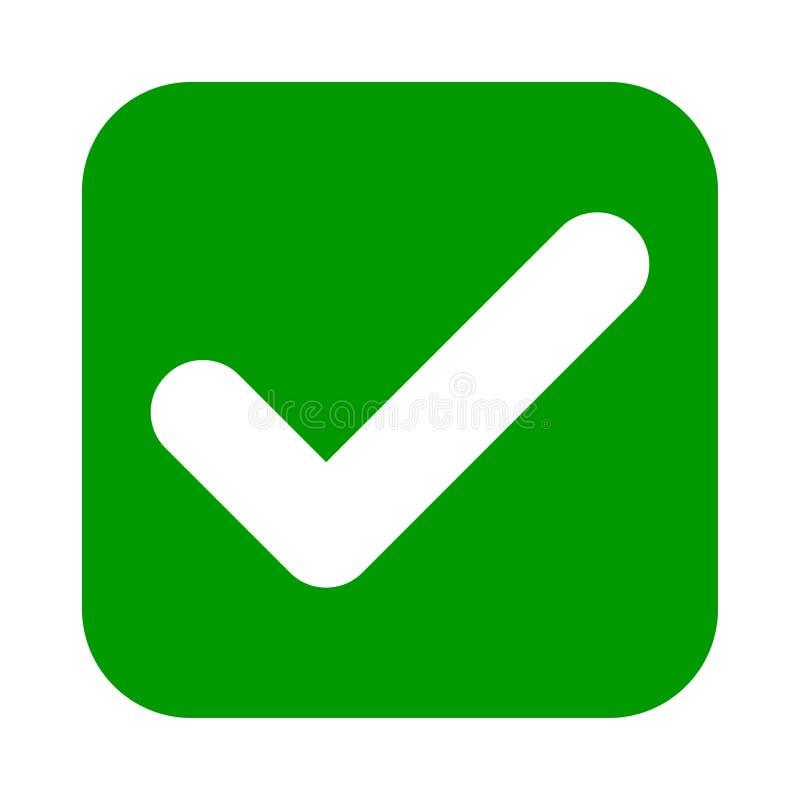 Значок зеленого цвета контрольной пометки тонкого угольника, кнопка Символ тикания изолированный на белой предпосылке иллюстрация вектора