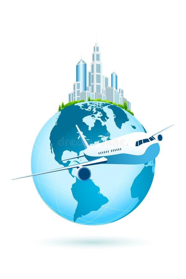 Значок земли с городом и аэробусом дела иллюстрация вектора
