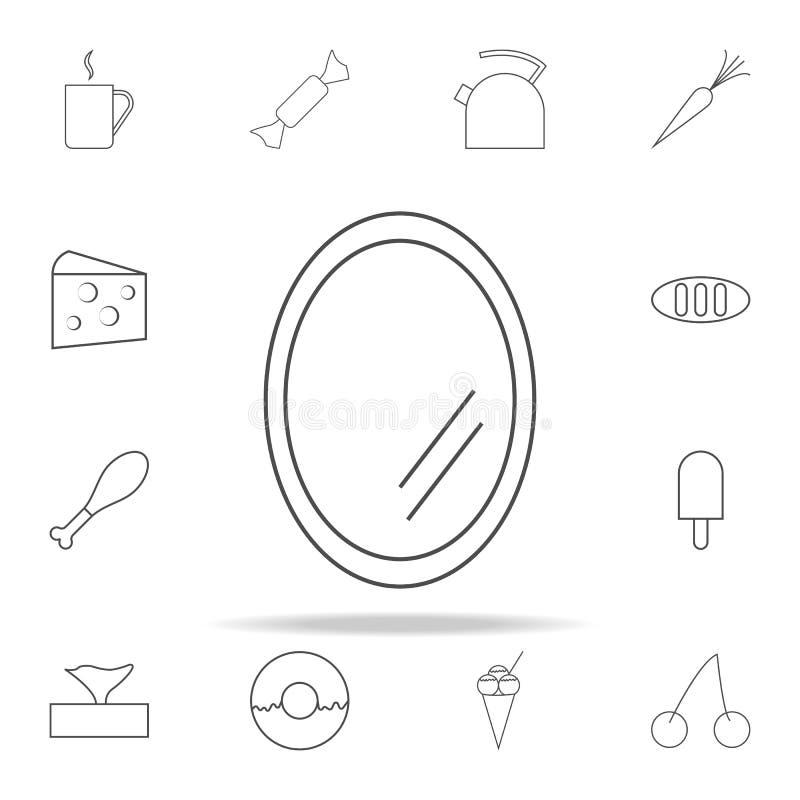 Значок зеркала комплект значков сети всеобщий для сети и черни иллюстрация штока