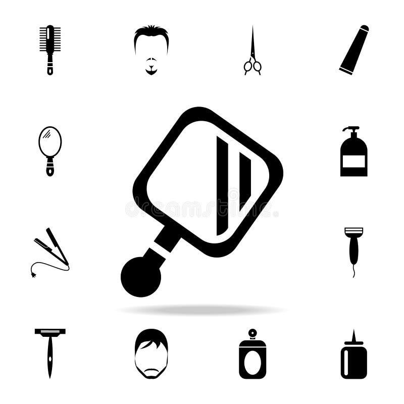 Значок зеркала руки Детальный комплект инструментов парикмахера Наградной графический дизайн Один из значков собрания для вебсайт бесплатная иллюстрация
