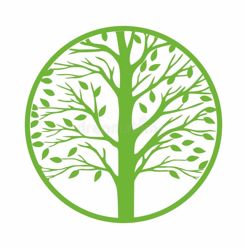 Значок зеленого дерева круглый, иллюстрация вектора