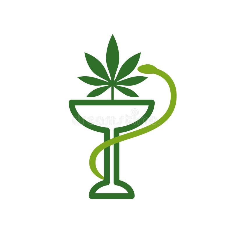 Значок змейки и шара медицинский изолированная предпосылкой белизна марихуаны листьев Медицинская конопля Фармация марихуаны Здор иллюстрация штока