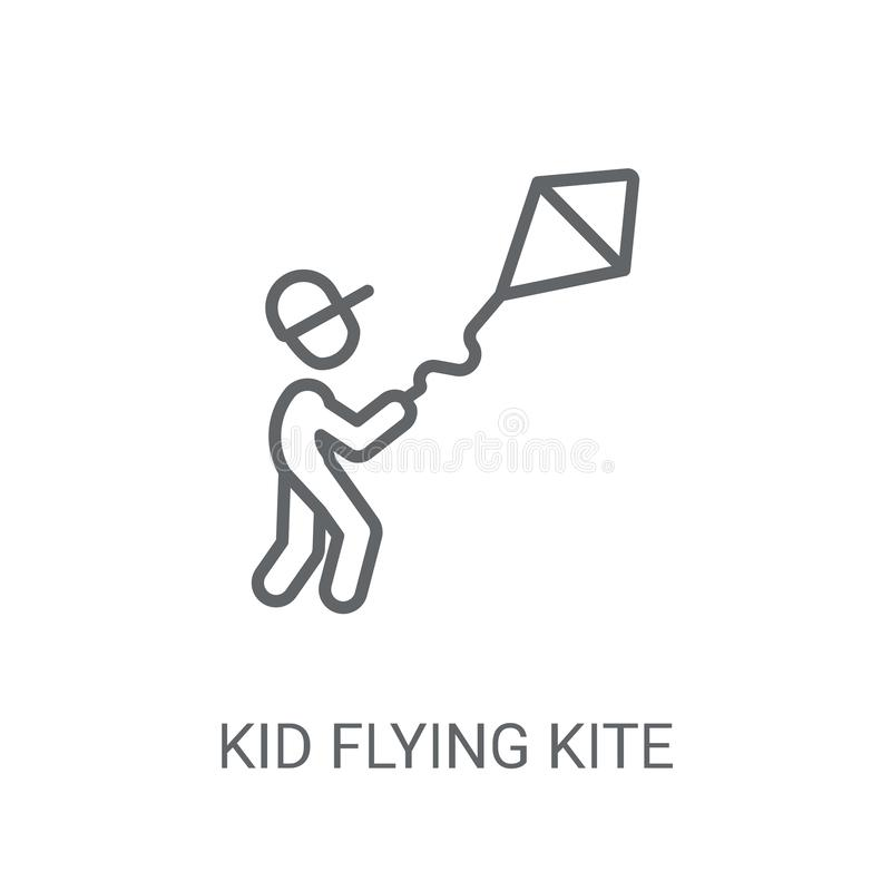 Значок змея летания ребенк Ультрамодная концепция логотипа змея летания ребенк на whi иллюстрация штока