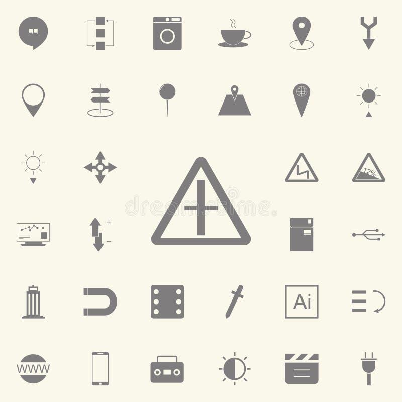Значок знака вилки дороги комплект значков сети всеобщий для сети и черни иллюстрация штока