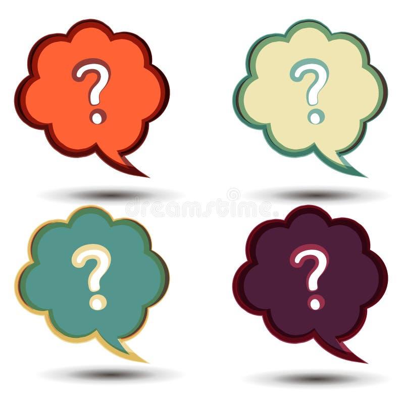 Значок знака вопросительного знака вектора Символ помощи Пузырь вопросы и ответы Круглые красочные кнопки изолированные на белой  иллюстрация вектора