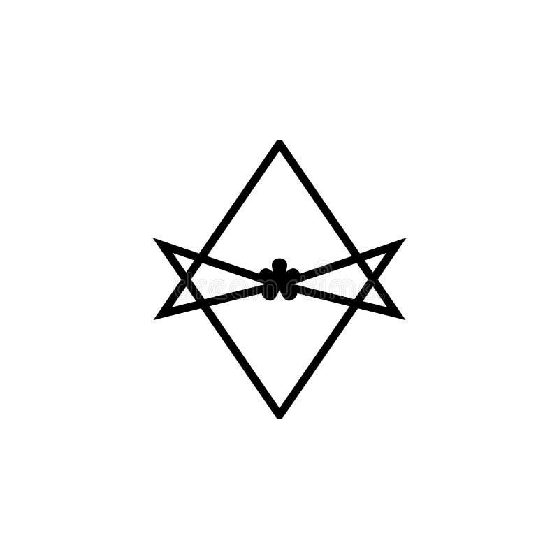 Значок знака гексаграммы Thelema Unicursal Элемент значка знака вероисповедания для передвижных apps концепции и сети Детальное T иллюстрация штока