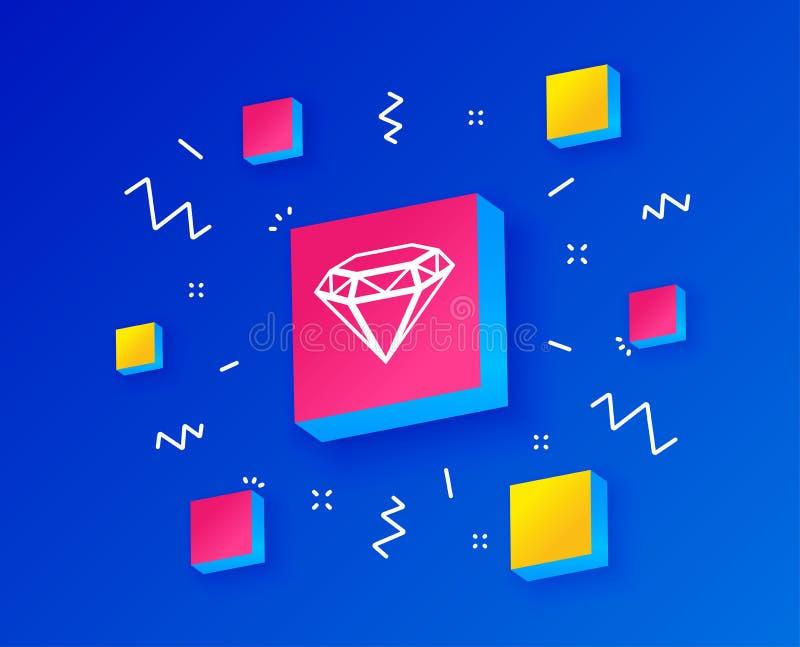 Значок знака диаманта Символ ювелирных изделий Камень самоцвета вектор иллюстрация вектора