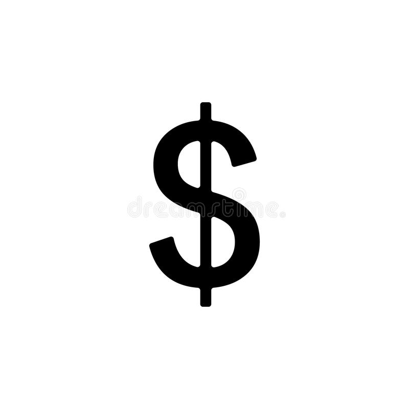 значок знака доллара Элемент значка сети для передвижных apps концепции и сети Изолированный значок знака доллара можно использов стоковое фото rf