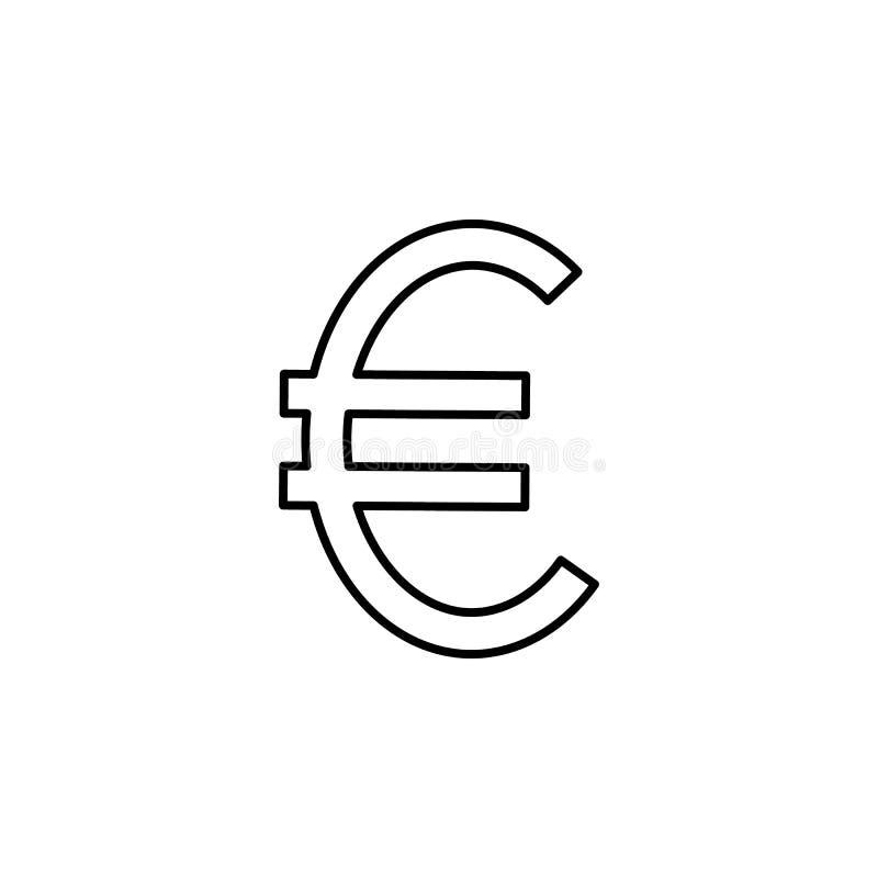 Значок знака евро Элемент простого значка для вебсайтов, веб-дизайна, передвижного app, графиков информации Тонкая линия значок д иллюстрация штока