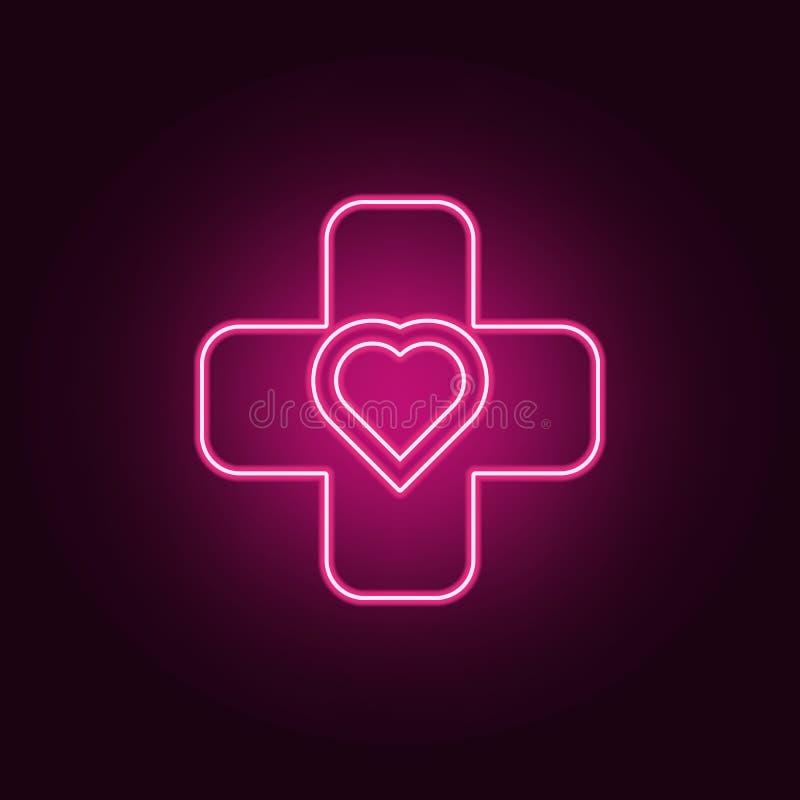 Значок знака креста и сердца Элементы медицины в неоновых значках стиля Простой значок для вебсайтов, веб-дизайн, мобильное прило бесплатная иллюстрация