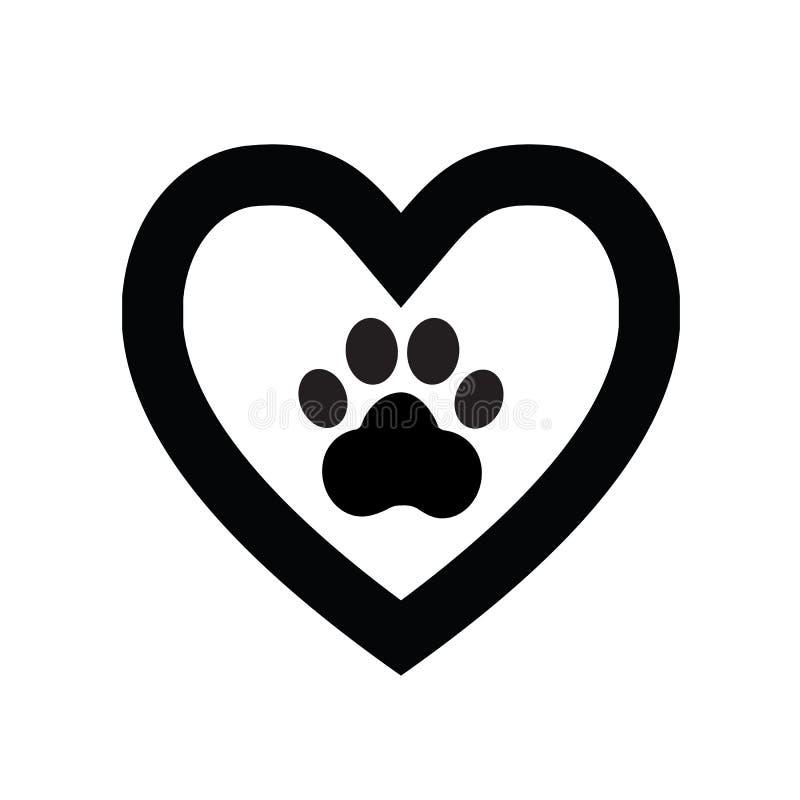Значок знака лапки собаки в heart1 стоковое изображение