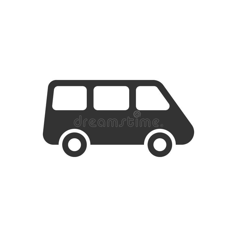 Значок знака минифургона пассажира в плоском стиле Иллюстрация векто иллюстрация штока