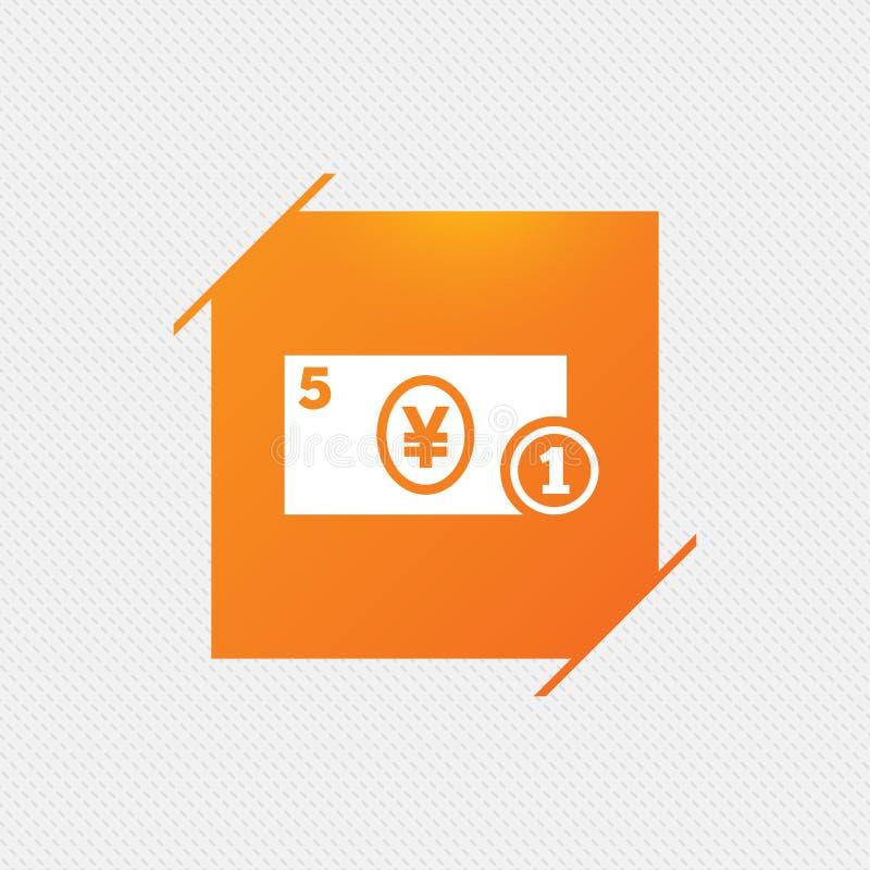 Значок знака наличных денег Символ денег иен монетка иллюстрация вектора