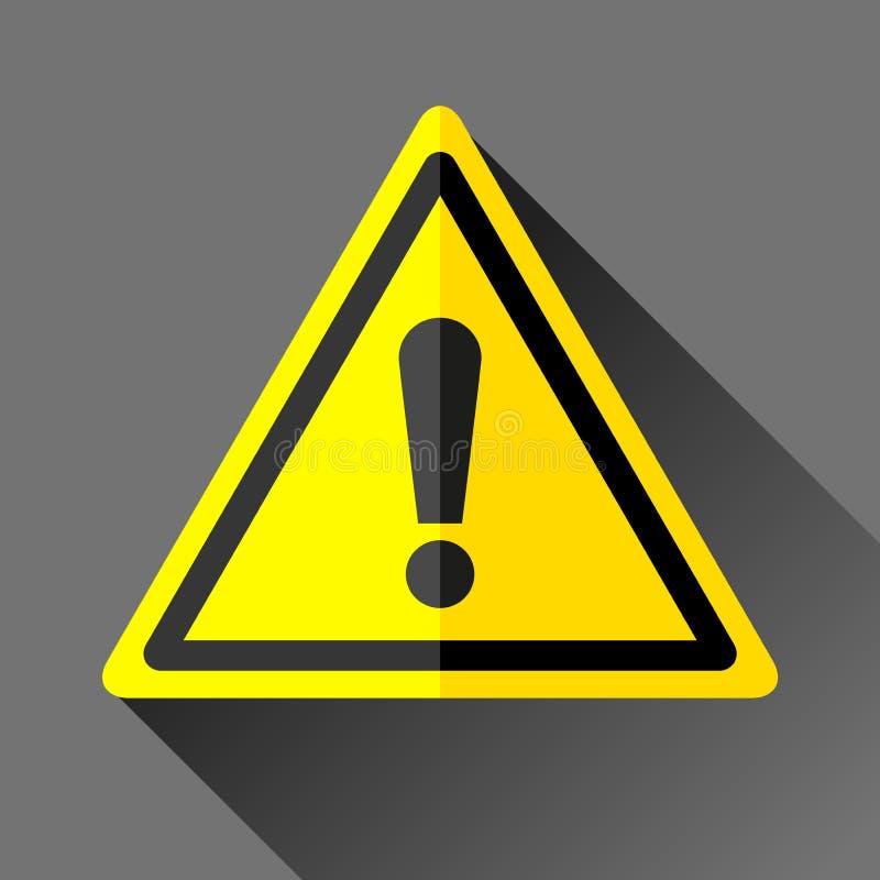 Значок знака опасности в плоском стиле на серой предпосылке, эмблеме ошибки в желтом треугольнике, иллюстрации дизайна вектора дл бесплатная иллюстрация