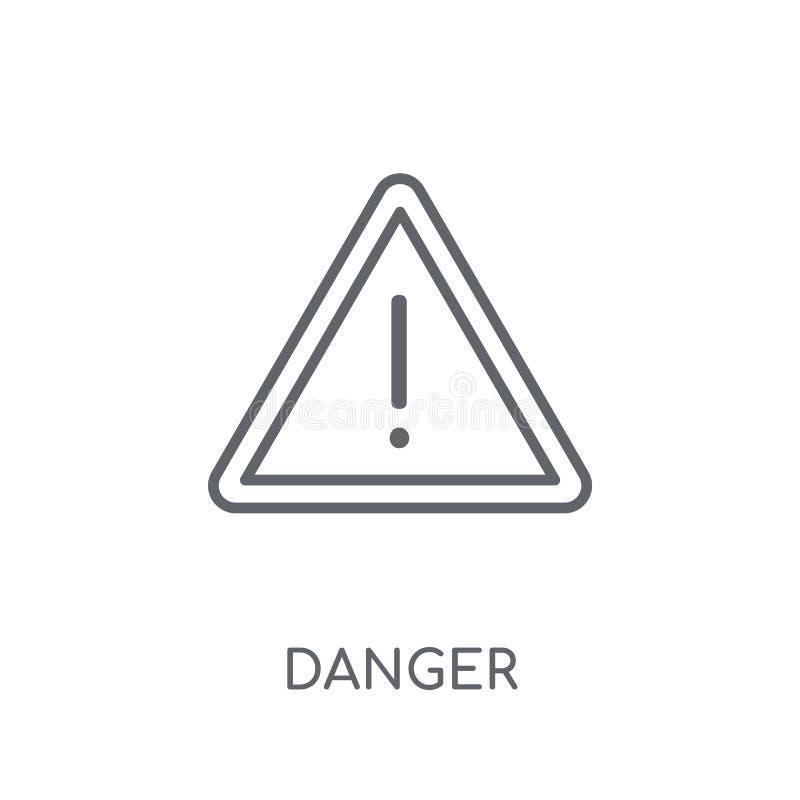 Значок знака опасности линейный Современная концепция логотипа знака опасности плана бесплатная иллюстрация
