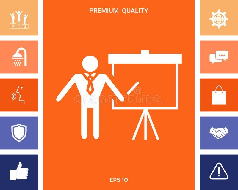 Значок знака представления Укомплектуйте личным составом положение с указателем около диаграммы сальто Пустой пустой символ афиши бесплатная иллюстрация
