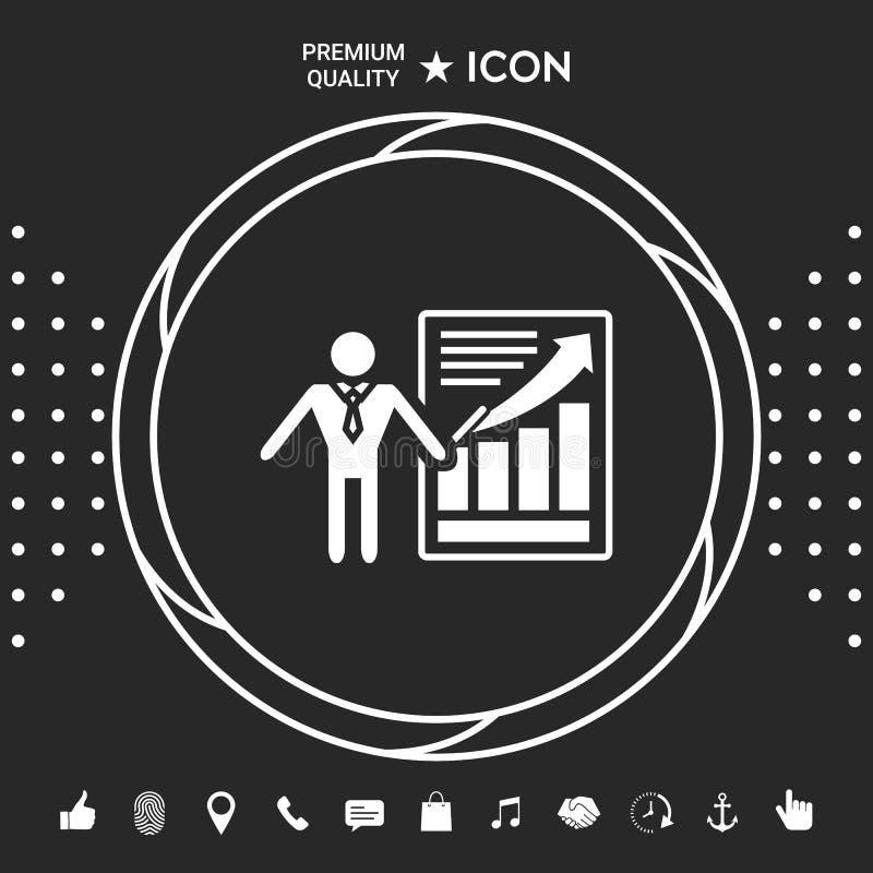 Значок знака представления Человек стоя с указателем около infographic Графические элементы для вашего designt бесплатная иллюстрация