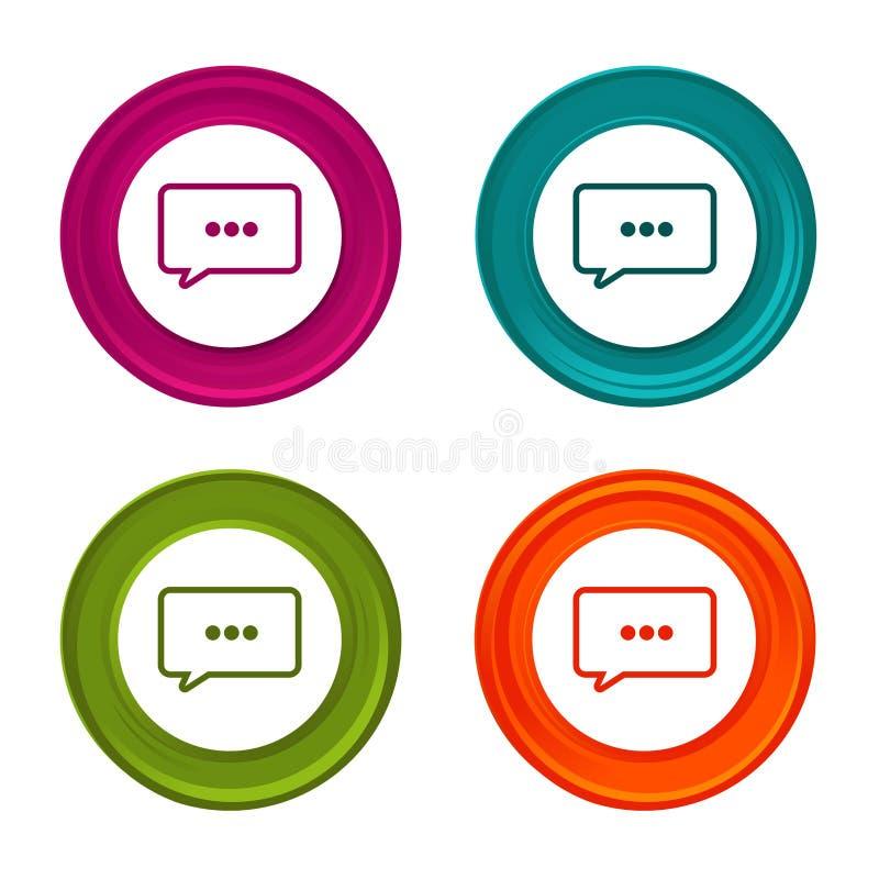 Значок знака пузыря речи знак болтовни Красочная кнопка сети с значком иллюстрация вектора