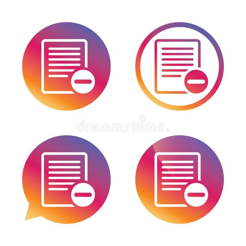 Значок знака текстового файла Символ документа файла удаления иллюстрация вектора