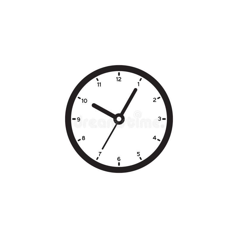 Значок знака часов в плоском стиле Вектор контроля времени на белой изолированной предпосылке Концепция дела таймера иллюстрация штока