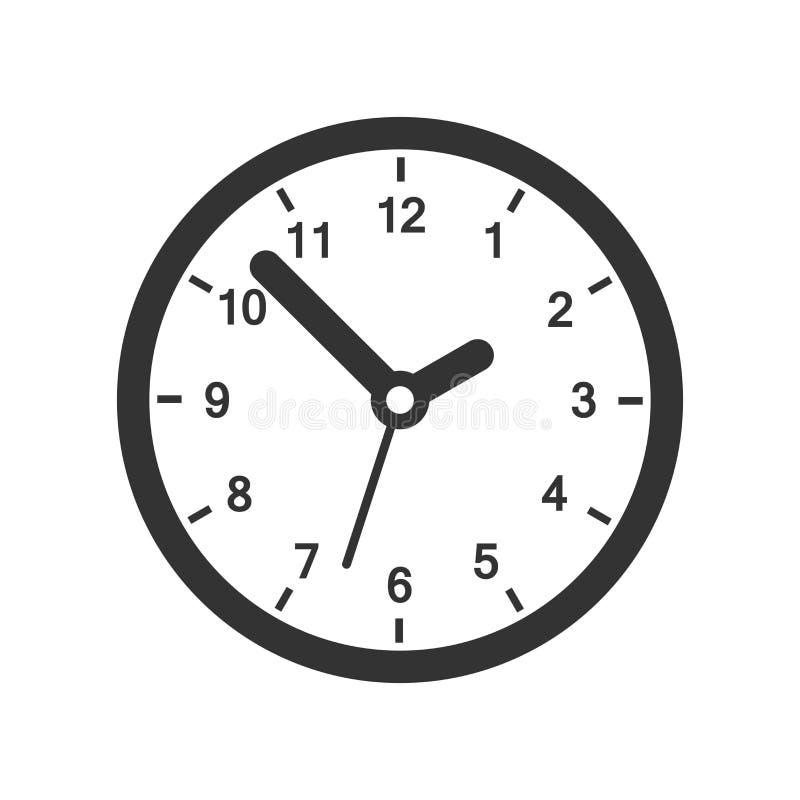 Значок знака часов в плоском стиле Иллюстрация вектора контроля време бесплатная иллюстрация