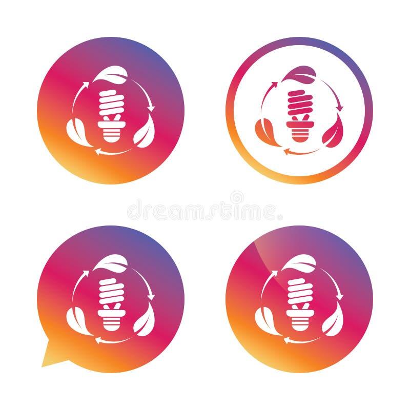 Значок знака шарика люминесцентной лампы сбережениа иллюстрации энергии славные мягкие иллюстрация вектора