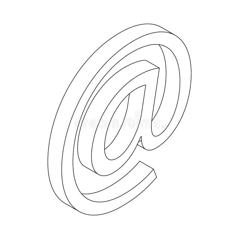 Значок знака электронной почты, равновеликий стиль 3d иллюстрация вектора
