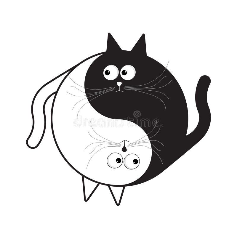 Значок знака Yin Yang Белый и черный милый смешной кот шаржа Символ shui Feng Плоский стиль дизайна иллюстрация вектора