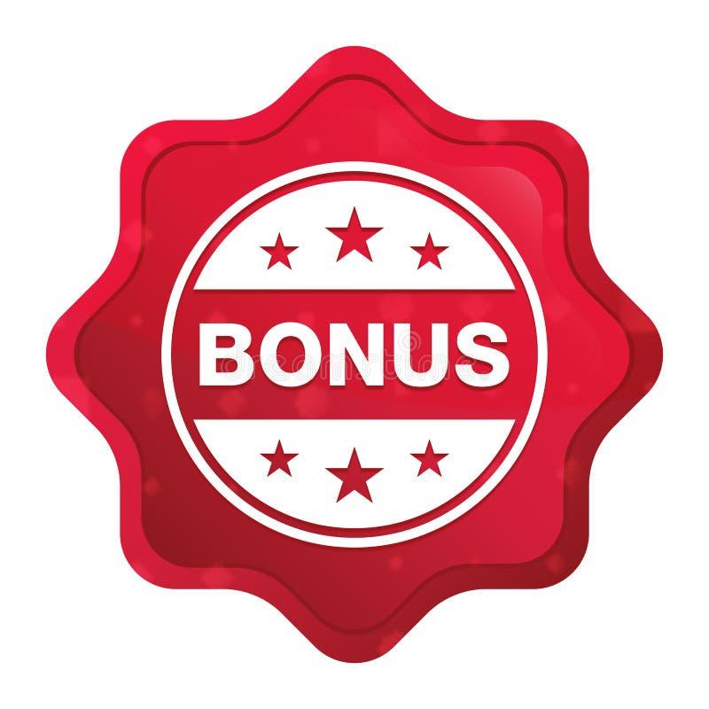 Значок значка бонуса туманный поднял красная кнопка стикера starburst иллюстрация вектора