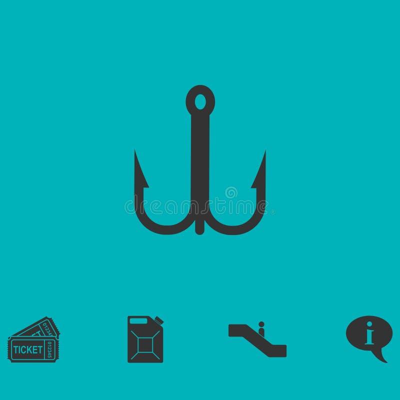 Значок значка рыболовного крючка плоско иллюстрация вектора
