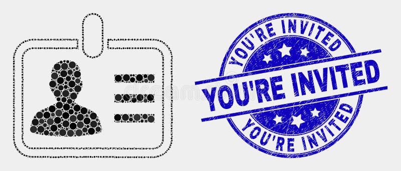 Значок значка человека Pixelated вектора и поцарапал вас приглашенное уплотнение печати иллюстрация вектора