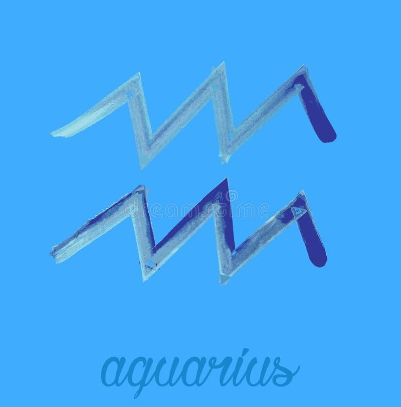 Значок зодиака, значок водолея вектора астрологические знаки, красочное изображение гороскопа Стиль Watercolour иллюстрация штока