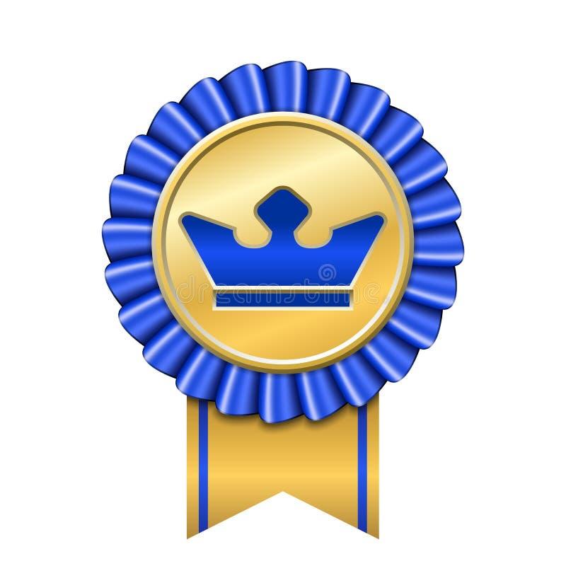 Значок золота ленты награды Золотым голубым предпосылка кроны медали изолированная дизайном белая Торжество победителя символа, н иллюстрация вектора