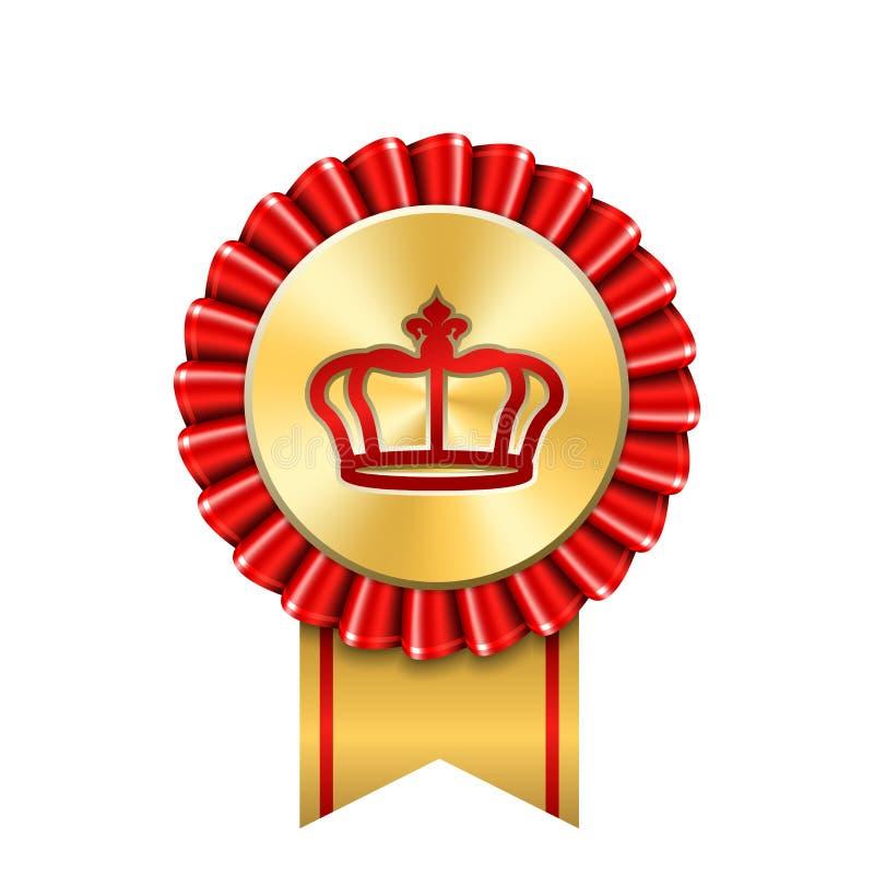 Значок золота ленты награды Золотым красным предпосылка кроны медали изолированная дизайном белая Торжество победителя символа, н иллюстрация вектора