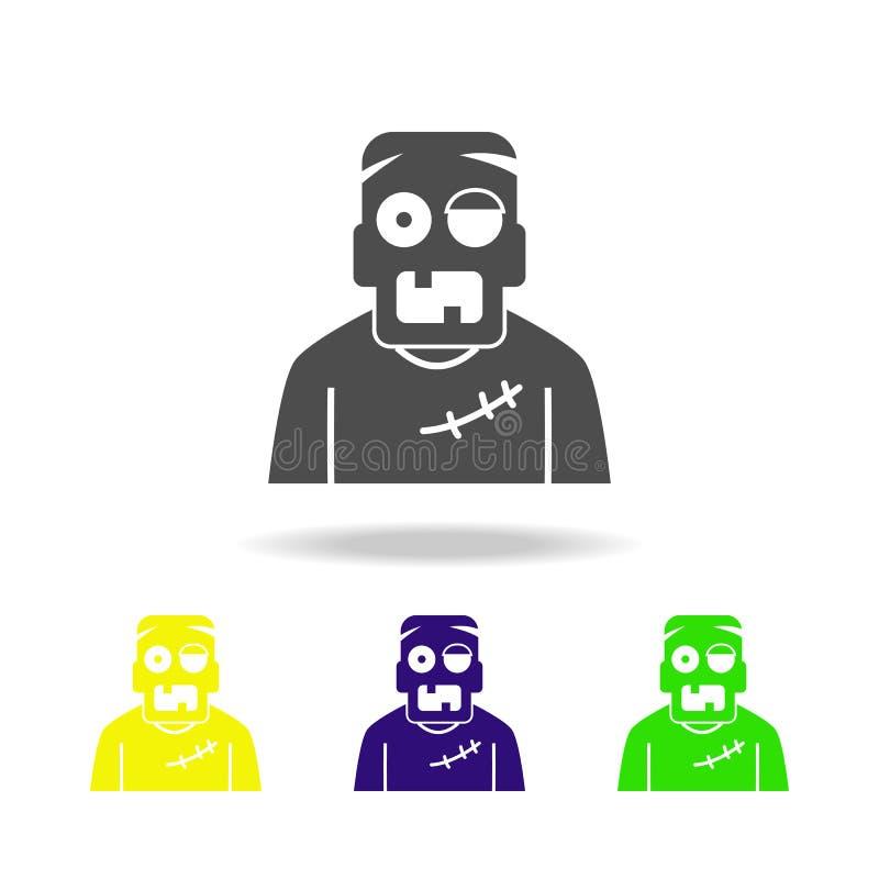 Значок зомби пестротканый Элемент иллюстрации элементов призрака Знаки и значок символов можно использовать для сети, логотипа, м иллюстрация вектора