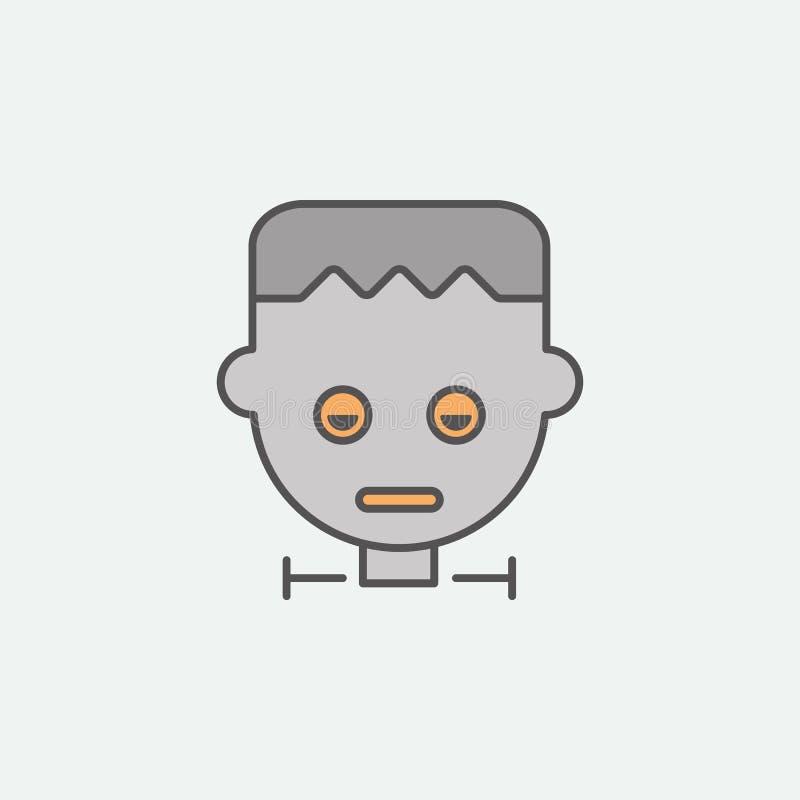Значок зомби Frankenstein покрашенный маской Один из значков собрания хеллоуина для вебсайтов, веб-дизайн, мобильное приложение бесплатная иллюстрация