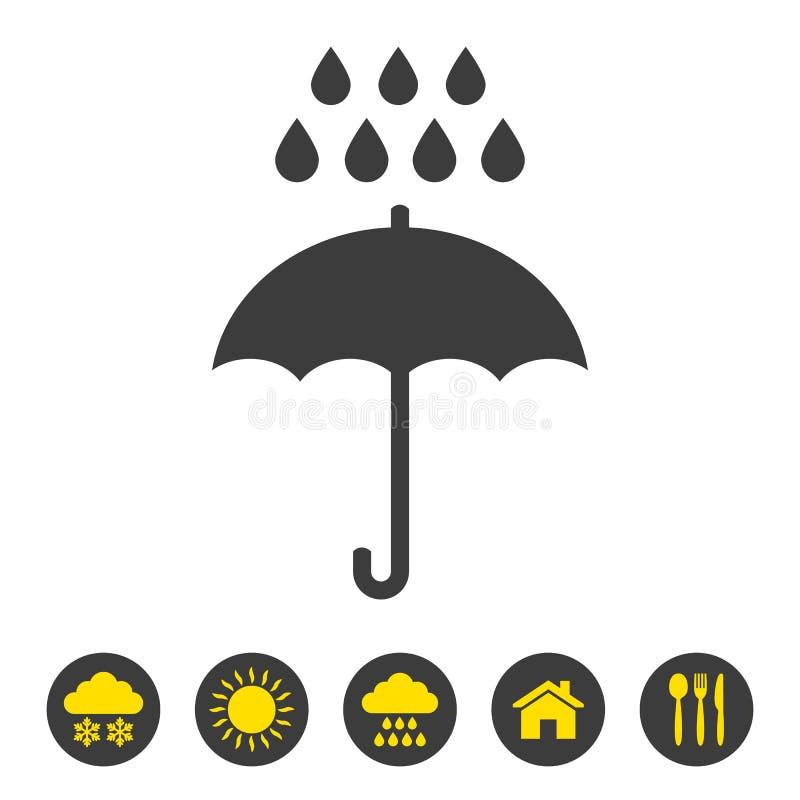 Значок зонтика и дождя на белой предпосылке иллюстрация штока