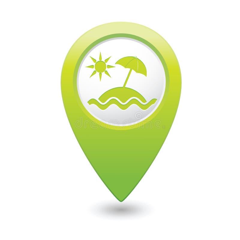 Значок зонтика пляжа на указателе карты иллюстрация штока