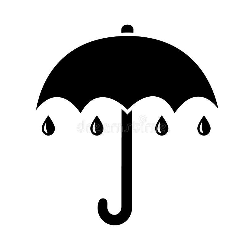 Значок зонтика, простая черная квартира с дождем падает иллюстрация штока