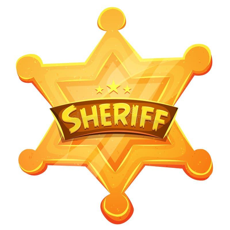 Значок золотой медали звезды маршала шерифа иллюстрация штока