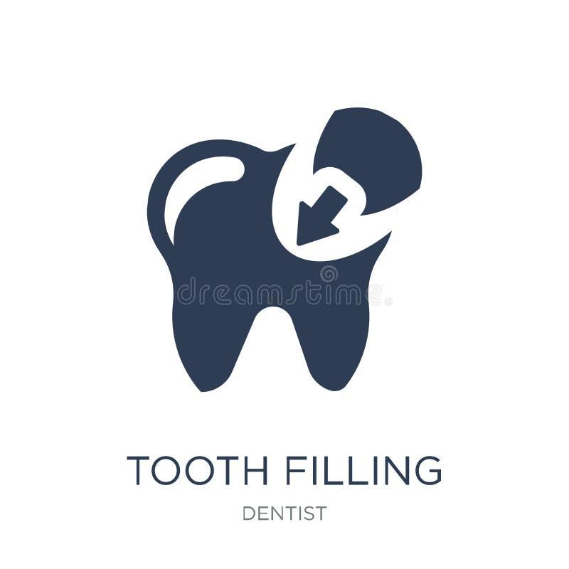 значок зуба заполняя Значок ультрамодного плоского зуба вектора заполняя на whi иллюстрация вектора