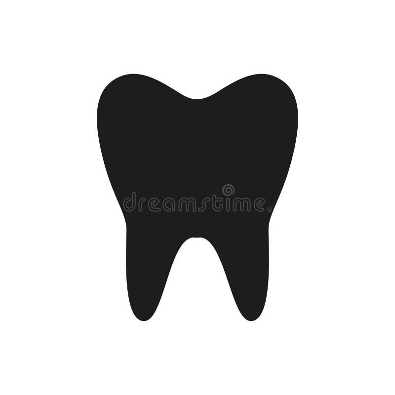 Значок зуба Черный значок изолированный на белой предпосылке Силуэт зуба икона просто Страница вебсайта и передвижной элемент диз иллюстрация штока