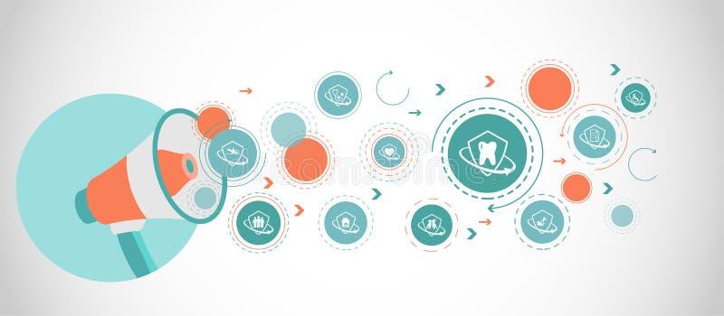 значок зубной страховки От набора страхования иллюстрация вектора