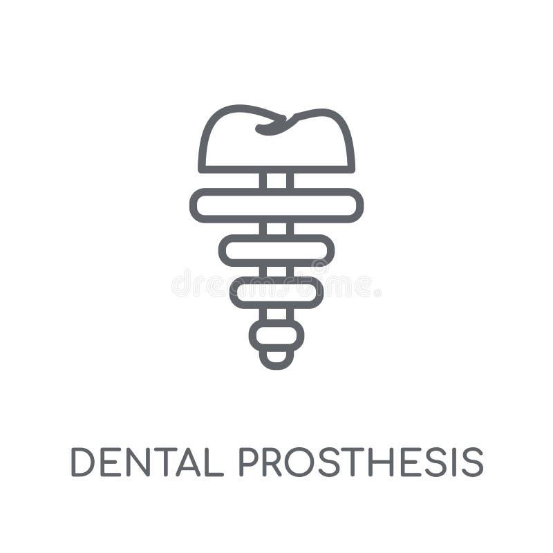 Значок зубоврачебного протеза линейный Протез современного плана зубоврачебный иллюстрация штока